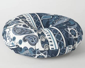 Navy Floor Cushions, Dark Navy Pouf,  Pouf Seating, Indian Floor Cushion, Indian Cushions, Round Floor Cushions, Boho Floor Pillow