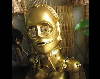 Star Wars, Gold C3PO, Gold Clay Sculpture - C3PFEM