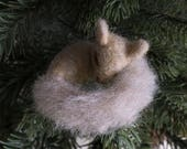 Squirrel Ornament — Cute Christmas Decor — Cute Stocking Stuffer — Needle Felted Tree Ornament — Wildlife Ornament — Wool Animal —Mt. Marten