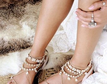 Nude Flat Sandals Gladiator Sandal Leather Gold Jewel Chains