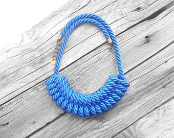 Blue Rope necklace Nautical rope necklace