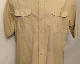Vintage MENS 1980s Knightsbridge military styled short sleeve shirt with epaulettes