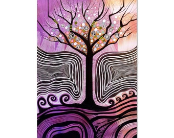 World Tree painting,Whimsical purple visionary painting, shamanic art,11.7 x 16.5 inches,outsider art