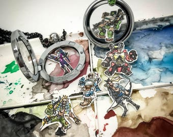 Overwatch Defense - Hand-painted watercolor locket charms