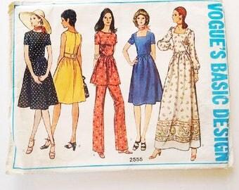 "UNCUT Vogue Basic Design 2555 70's Bohemian Boho Peasant Belted Mid / Maxi Dress, Tunic & Trouser Pants Sewing Pattern Size UK 14 Bust 36"""