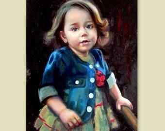 """Custom Portrait - Oil Canvas - Child Portrait Family Portrait Wedding Portrait - Pop Art Portrait Painting Palette Knife - 27 x 20"""""""