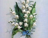 Lilies of the valley Ribbon embroidery picture embroidered spring flowers silk ribbon embroidery 3D effect picture decor wall embroidery