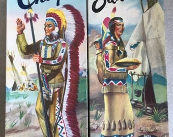 1957 Aurora Plastics Guys & Gals Indian Squaw and Indian Chief Plastic Model Kit 417-98, 418-98,