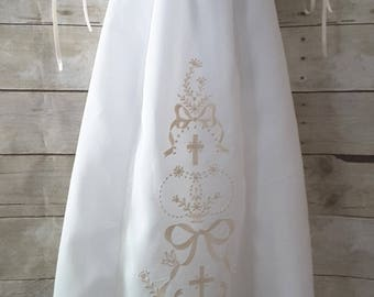Ecru Cross Embroidered Baby Christening Gown Set Baptismal, Blessing, Special Occasion