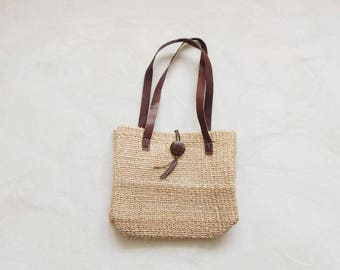 Vintage straw bag | vintage two tone brown straw handbag purse