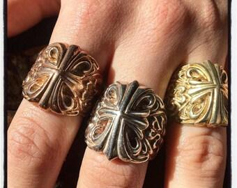 Etherial Handmade Cross Ring Crucifix Ring Trinity Ring Knight Ring Cross Ring Medieval Ring Silver Cross Ring Gold Cross Ring Templar Ring