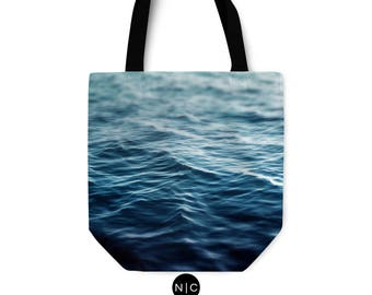 Dark Waters - Tote Bag, Deep Ocean Blue Beach Boho Surf Style Bag, Market Shopping Fashion Accessory Bag. Available in Basic & Adjustable