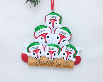 6 Red Foxes Family Ornament / Personalized Christmas Ornament / Family of Six Red Foxes / Christmas Ornament