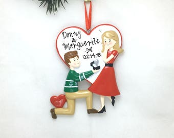 Engagement Personalized Christmas Ornament / Proposal Ornament / Engaged Couple / Our First Christmas / Valentine