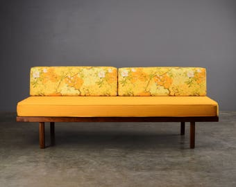 Vintage Mid Century Daybed Sofa Walnut Gold Fabric Danish Modern