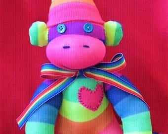 Rainbow Sock Monkey Stuffed Animal Toy Plush Doll