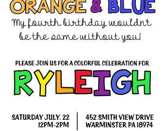 Colorful Birthday Invite Template - JPEG Example/PSD Template - Instant Download