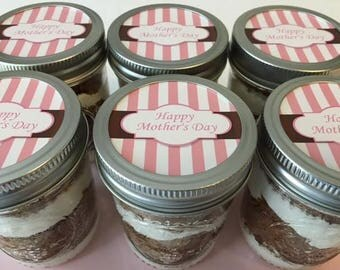 6 (8oz) Cupcakes In A Jar-Mason Jars-Mother's Day-Happy Mother's Day-Mother's Day Gifts-Gifts for Grandmom-Pink-Brown-Sweets-Edibles