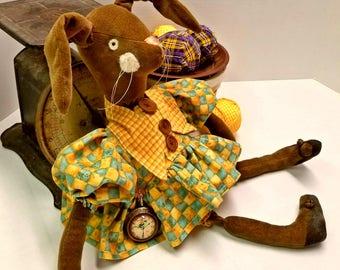 Brown Stuffed Bunny Doll,  Dressed Velveteen Rabbit Plush, Easter Home Decor