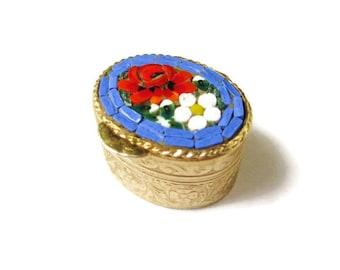 Italian Micro Mosaic Box /Periwinkle Blue Oval MicroMosaic Snuff Box/ Micro Mosaic Trinket Box/ Micro Mosaic Pill Box/ Micro Mosaic Ring Box