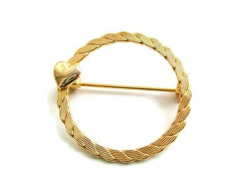 Goldtone  Twisted Circle Pin/ Sweet Heart Eternity Brooch / Gold Tone Rope Circle Pin