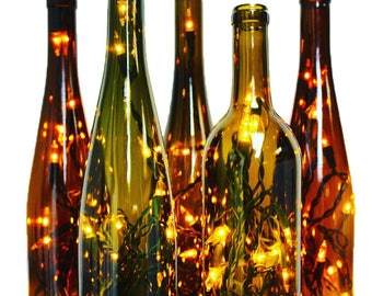 Two Wine Bottle Lamps - Wine Gift, Mothers Day Gift, Gift for Mom