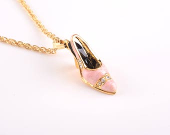 Pink Shoe Pendant Necklace Faberge Styled Handmade by Keren Kopal Enamel Painted Decorated with Swarovski Crystals