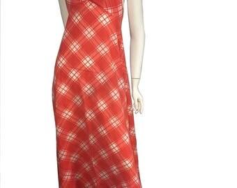 70's Gingham Halter Maxi Dress