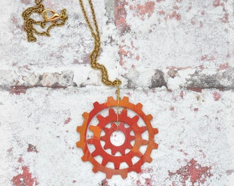 Sunburst Triple Gear Pendant Necklace, OOAK Unique Handmade Red and Orange Steampunk Jewelry Abstract Sun Statement Pendant Gift for her