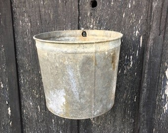 Old Galvanized Farm Bucket, Vintage Large Sap Rustic Rusty Patina, Container Garden Decorating,  Cottage Farmhouse