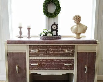 Antique Art Deco Waterfall Buffet Sideboard with French Script ~ Shabby Cottage Chic Style