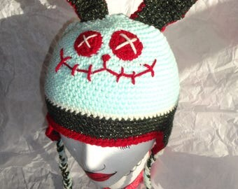 Hand Crocheted Zombie Bunny with Ear Flaps and Braids