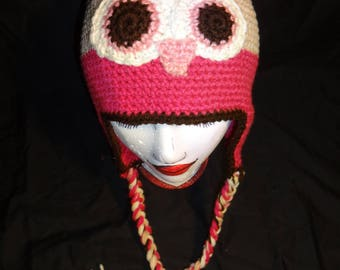 Hand Crocheted Owl Hat with Ear Flas and Braids