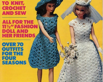 Vintage Barbie McCall's Doll Fashions magazine - Knit, Sew, Crochet, Vol. 1, 1960s-70s, Four Season Outfits