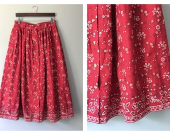 Vintage Red Cotton Skirt Bandana Pleated Pocket Eddie Bauer Western Candy Apple Red Floral Long Length Full Skirt High Waist Size 14 Large