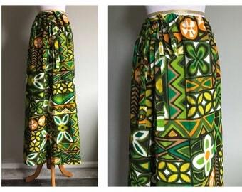 Vintage 1960's Tiki Maxi Skirt Barkcloth Tropical Hawaiian Print Dress Skirt Mod Green Floral Luau Party Size XS Small Medium Large XL 1X OS