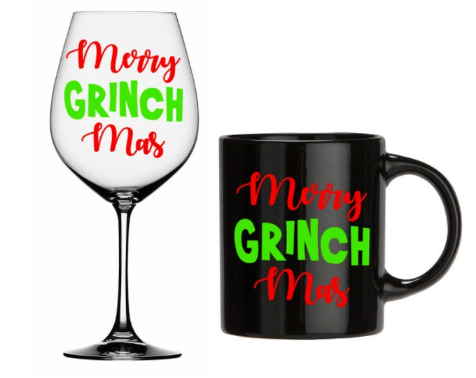 Merry GRINCHmas- Christmas Decal, DIY Vinyl Decals Wine Glass, Mugs ... Mug shown NOT Included
