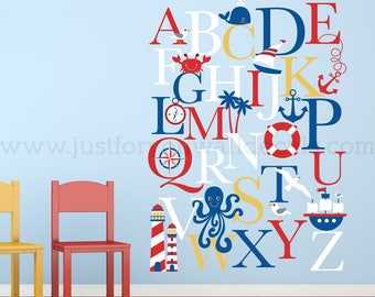 Nursery Wall Decal, Alphabet Wall Decal, Nautical Nursery Wall Decals - Playroom Wall Decal - Alphabet Decal - Wall Sticker - 01-0035