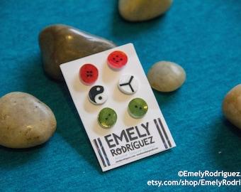 Yin-Yang and Buttons Stud earrings Set