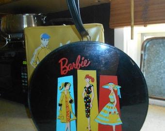 Vintage 1961 Round Zippered Barbie Train Case
