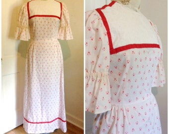 Vintage 1970s prairie dress, maxi dress, boho cotton dress, size xs, small, 2, 4