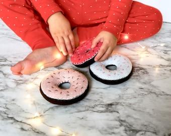 Felt Donut Pretend Food - Kids Kitchen Set - Felt Play Food - Pretend Play Kitchen food - Montessori - Eco Friendly Toys - Stocking Stuffer