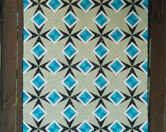 Diamonds in the Sky - digital quilt pattern - a modern paper pieced pattern in baby, lap, and large lap sizes
