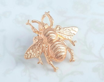 Rose Gold Bumble Bee Brooch Pin Woodland Nature Garden Wedding Boho Rustic Queen Bee - Sweet As Can Bee
