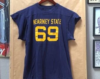 Vintage Kearney State 69 Football Jersey Athletic Shirt University of Nebraska Cut Off Sleeves DIY 1960's 1970's 1980's