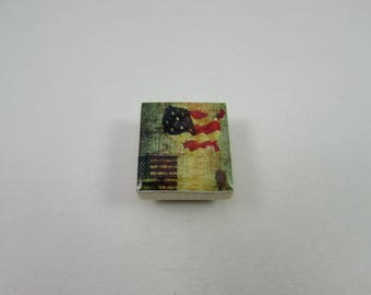 Patriotic Needle Minder from Designs by Lisa, made from upcycled scrabble tiles. Useful needlework accessory and makes a great gift too!