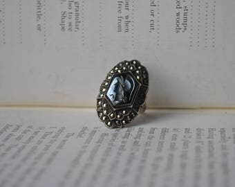 Vintage Sterling Marcasite Alaskan Diamond Cameo Ring - 1930s Art Deco Roman Inspired Sterling Ring