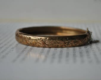 Antique Gold Filled Copper Bangle - 1900s Edwardian Etched Bangle, Size Small
