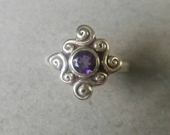 Sterling Silver Swirl Solitaire Amethyst Ring, February Birthstone R127SSA