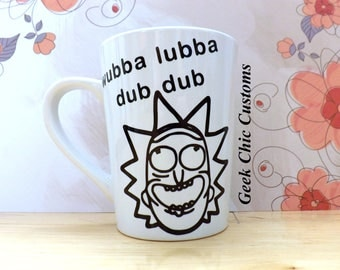 Wubba Lubba Dub Dub Rick and Morty Coffee Cup, Get Schwifty Funny Coffee Mug, Fan Art Nerd Geek Gift Idea, Pickle Rick Mr Meeseeks Tiny Rick